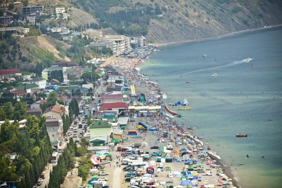 Обзор пляжа в Рыбачьем с высоты