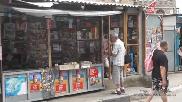 Улица с магазинами в поселке Рыбачье