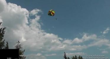 Полет с парашютом над поселком Рыбачье